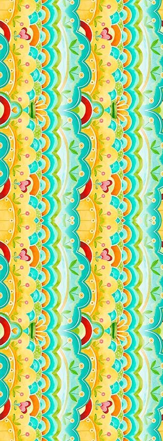 26361 Q Teal Scallop Stripe All a Flutter