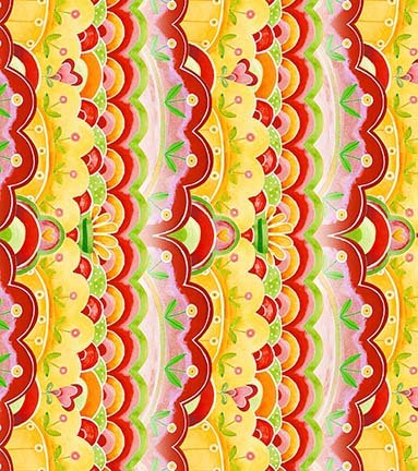 26361 R Tomato Scallop Stripe All a Flutter