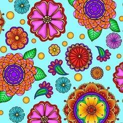 1649 26371 Q Large Flowers Light Turquoise Carnivale
