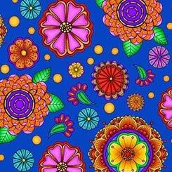 1649 26371 Y Large Flowers Royal Blue Carnivale