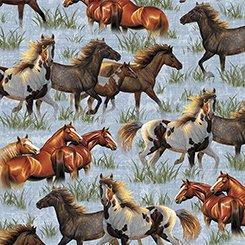 26604 B Running Horses Blue  Round 'em Up