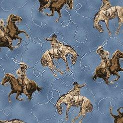 26605 B Dark Blue Cowboy on Horse Round 'em Up