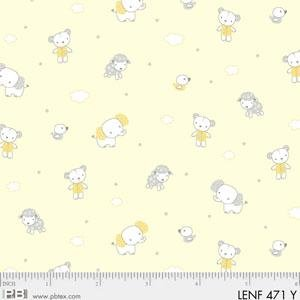 00471 Y Yellow Tossed Animals Les Enfantes Flannel