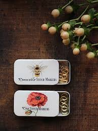 Bumblebee and Bloom Stitch Marker Tins