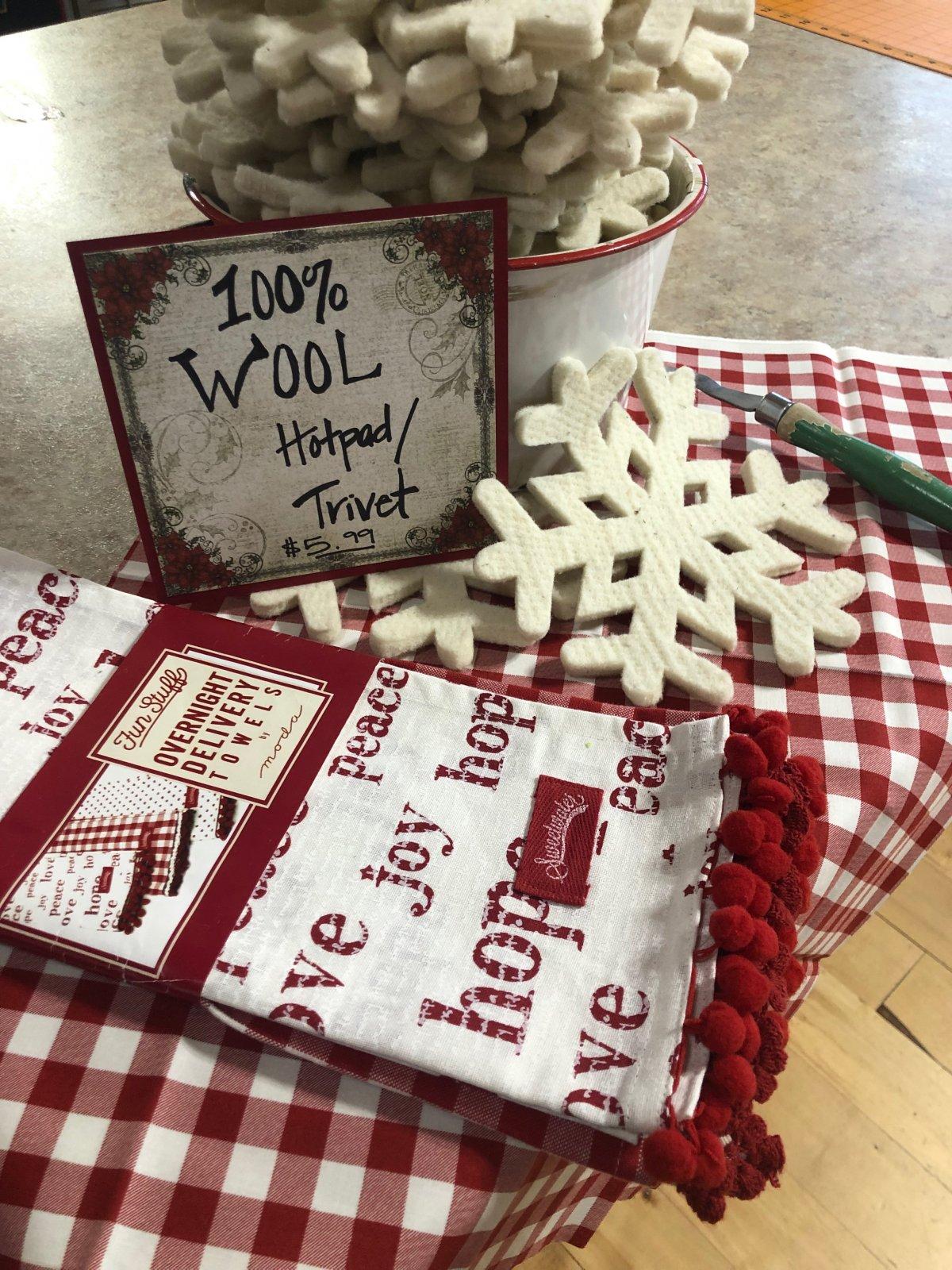100% Wool Snowflake Trivet/Hot Pad  8x 8