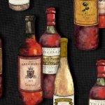 1131-99 Wine Bottles on Black Vintage