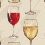 1135-40 Wine Glasses on Cream Vintage