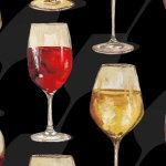 1135-99 Wine Glasses on Black Vintage