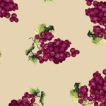 1138-40 Purple Grapes on Cream Vintage