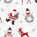 F6978-8 Santa with reindeer and snowmen, directional with snowflakes  Frosty Friends Flannel