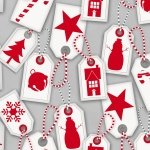 F6980-90 Gray  Holiday tags directional all over  Frosty Friends Flannel