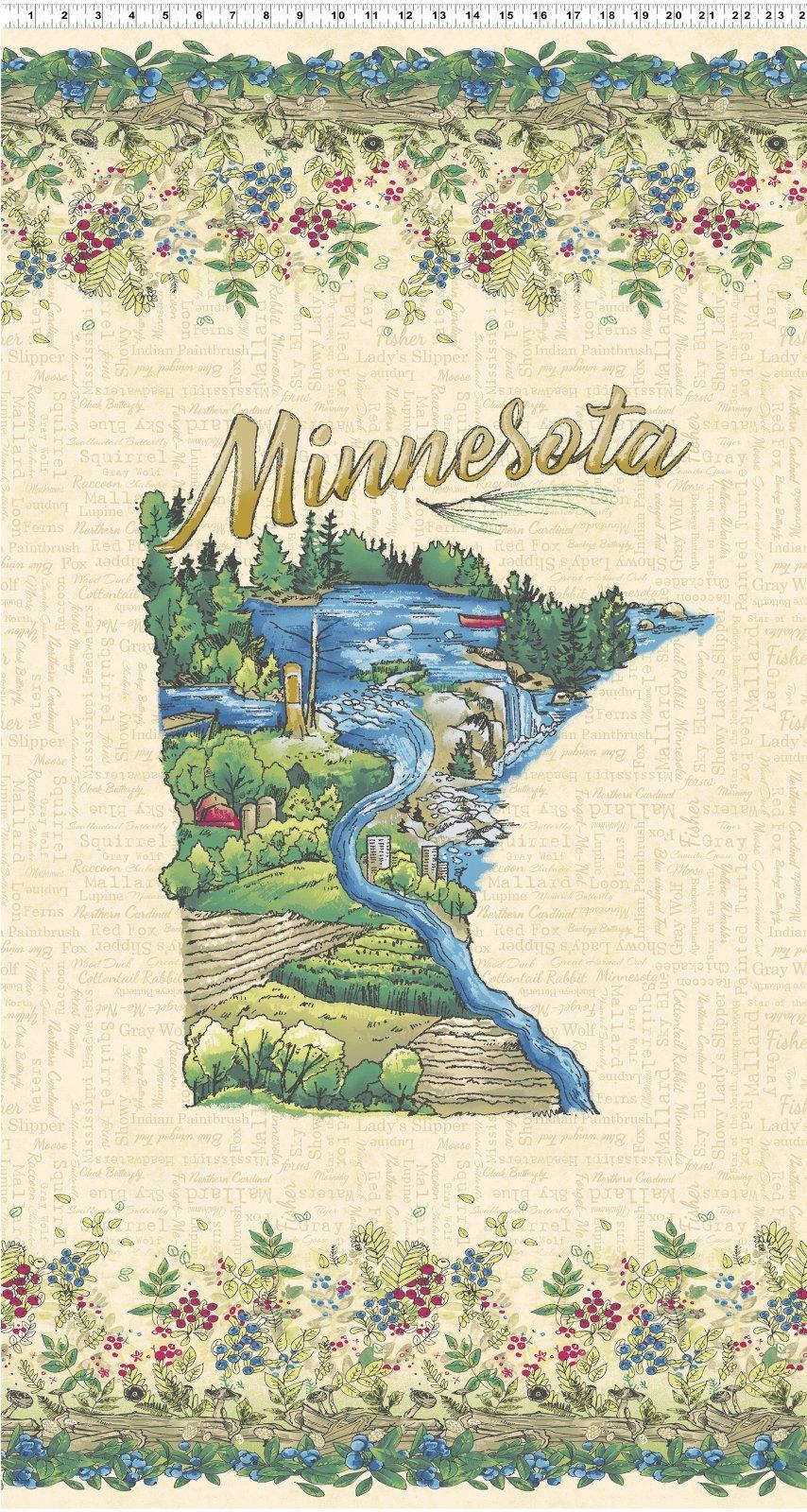 Y2742 64 Minnesota Shape Panel Quilt Minnesota 2019 Shop Hop Fabric