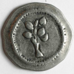 Antique Tin Tree Button 20mm