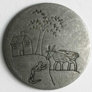 Antique Tin Goat And House Button 20mm