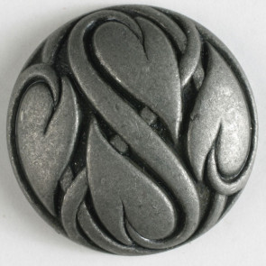 Antique Tin Heart Leaves Button 25mm