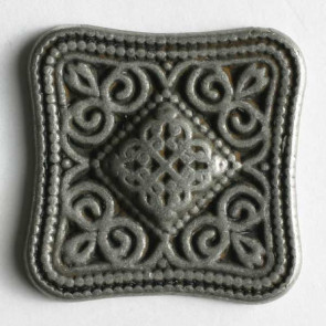 Antique Tin Filgree Square Button 28mm