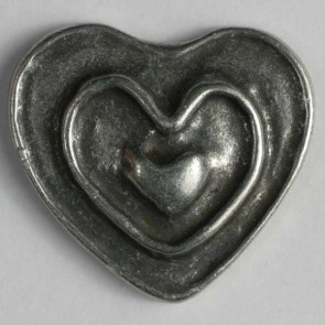 Antique Tin Heart Button 28mm