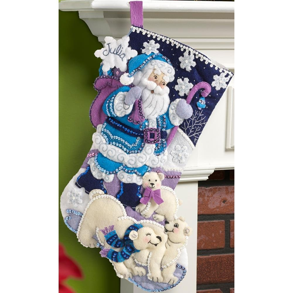 Bucilla Felt Stocking Applique Kit 18 Long-Arctic Santa