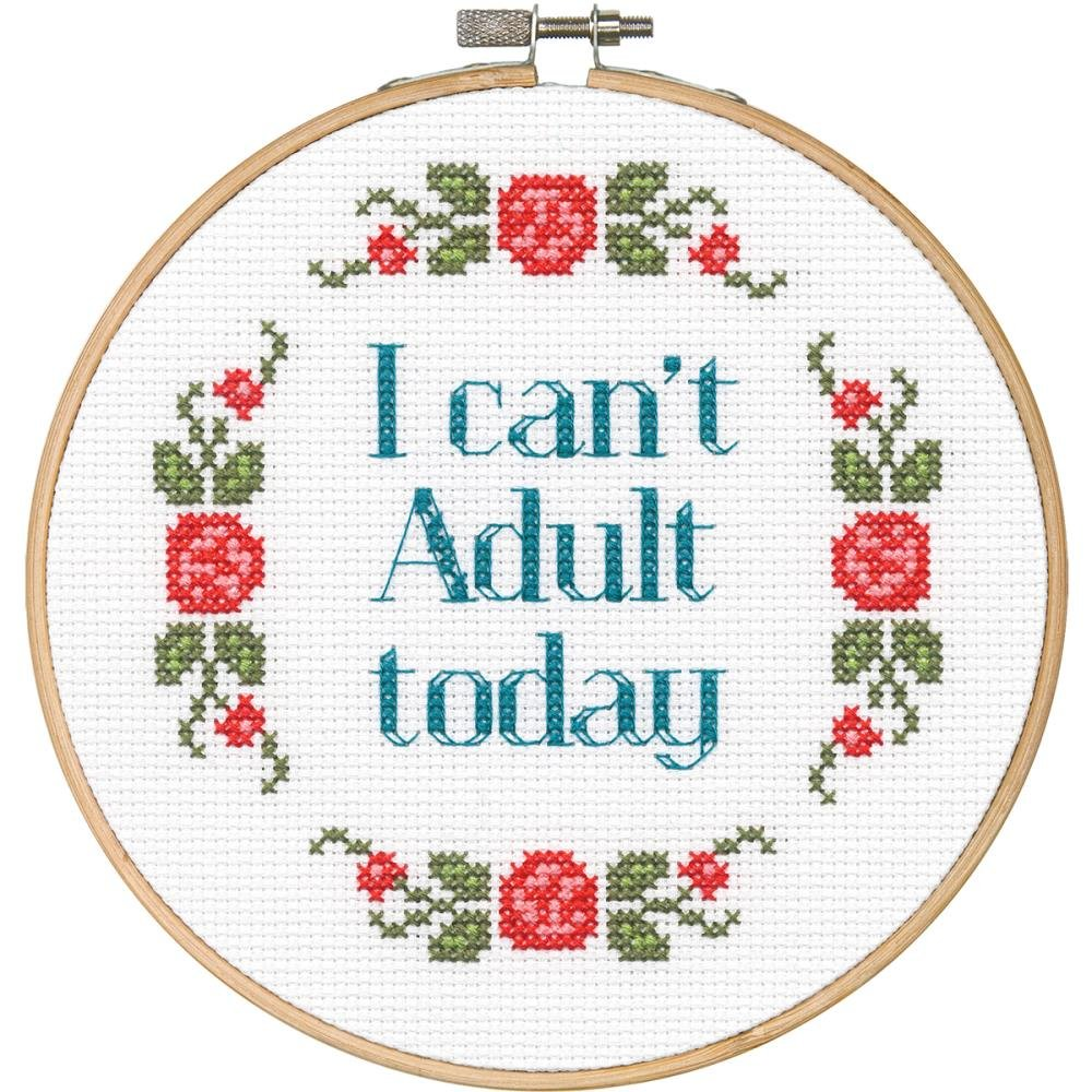 Dimensions/Say It! Counted Cross Stitch Kit 6 Round - I Can't Adult Today