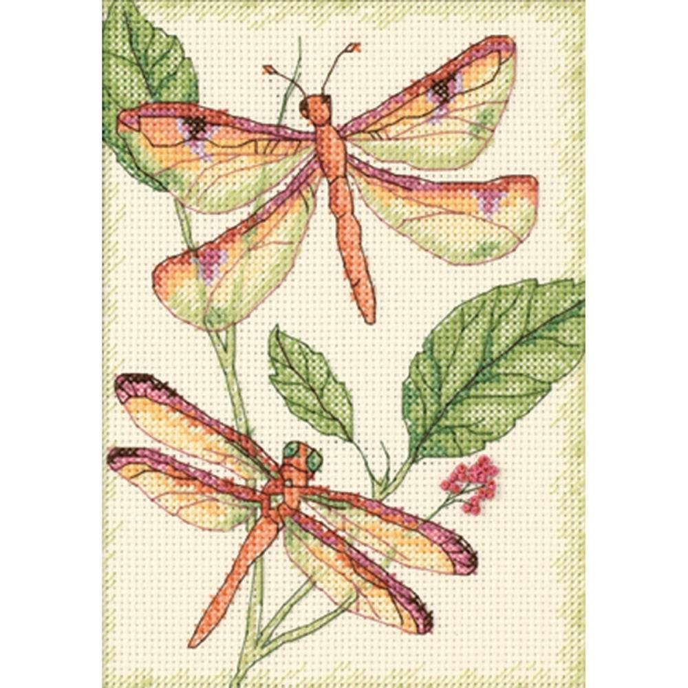 Dimensions Mini Counted Cross Stitch Kit 5X7 - Dragonfly Duo