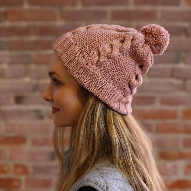 Moon Shadow Cable and Seed Stitch Hat