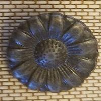 Gunmetal Flower Button