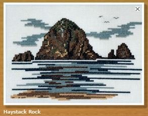 Doherty Designs Haystack Rock Counted Cross Stitch Kit