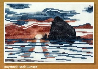 Doherty Designs Haystack Rock Sunset Counted Cross Stitch Kit