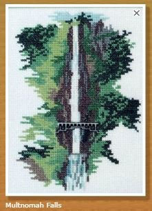 Doherty Designs Multnomah Falls Counted Cross Stitch Kit