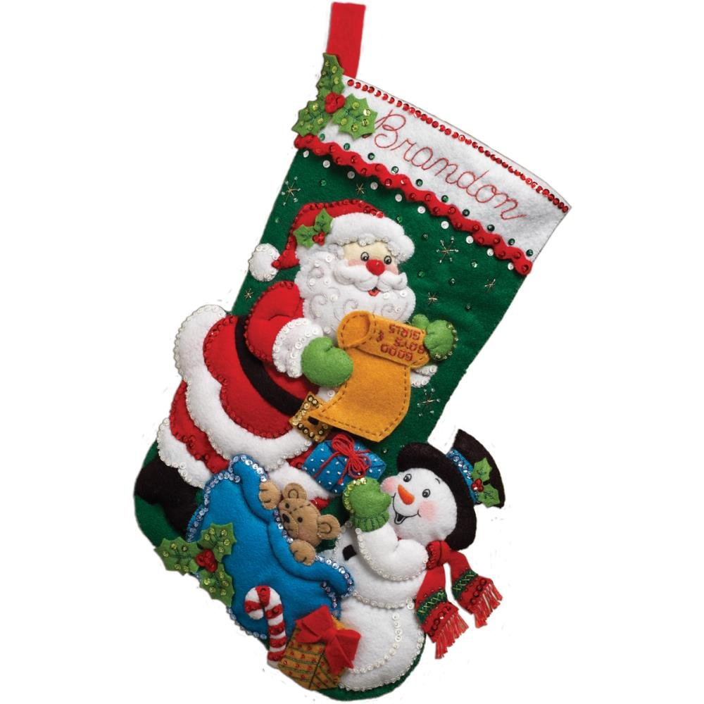 Bucilla Felt Stocking Applique Kit 18 Long-Santa' List