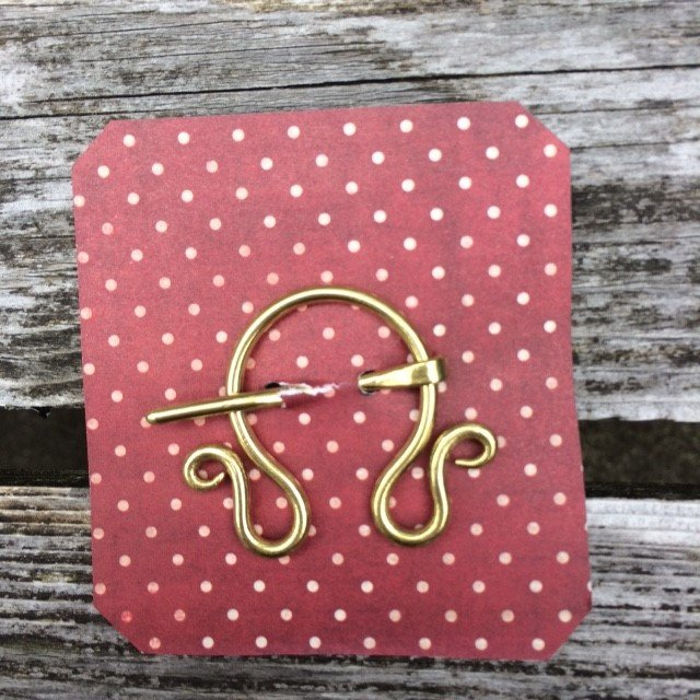 Hand Formed Small Brass Pennaular Shawl Pin