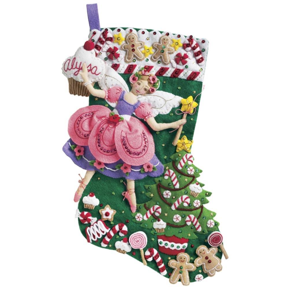 Bucilla Felt Stocking Applique Kit 18 Long-Sugar Plum Fairy