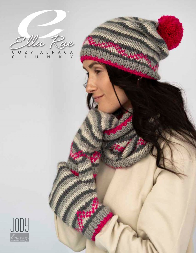 Ella Rae Whitney Hat, Cowl, and Mitts