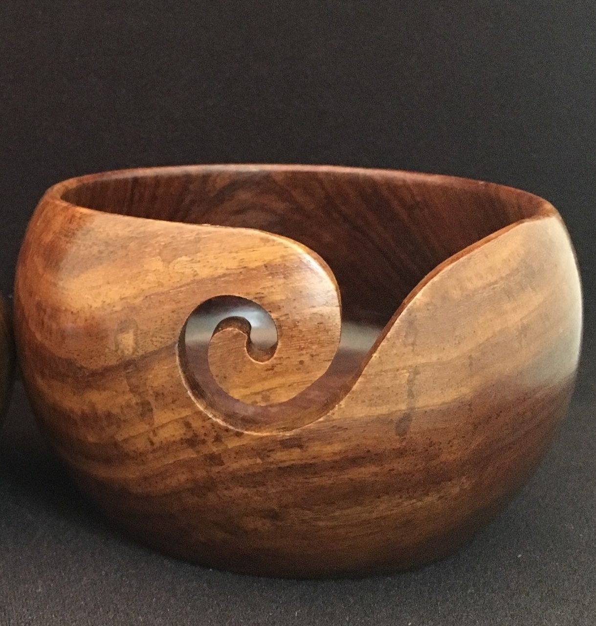 Teak Wood Yarn Bowl 6 x 3.5