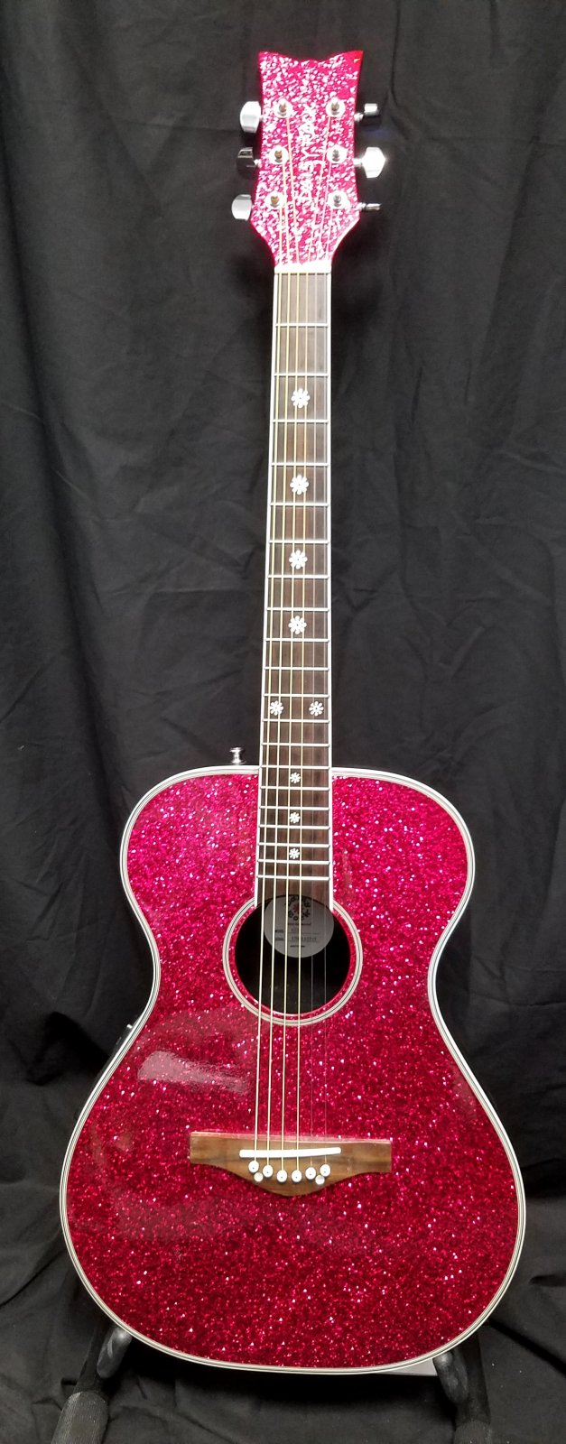 Used Daisy Rock Pixie Acoustic Guitar Hot Pink Sparkle
