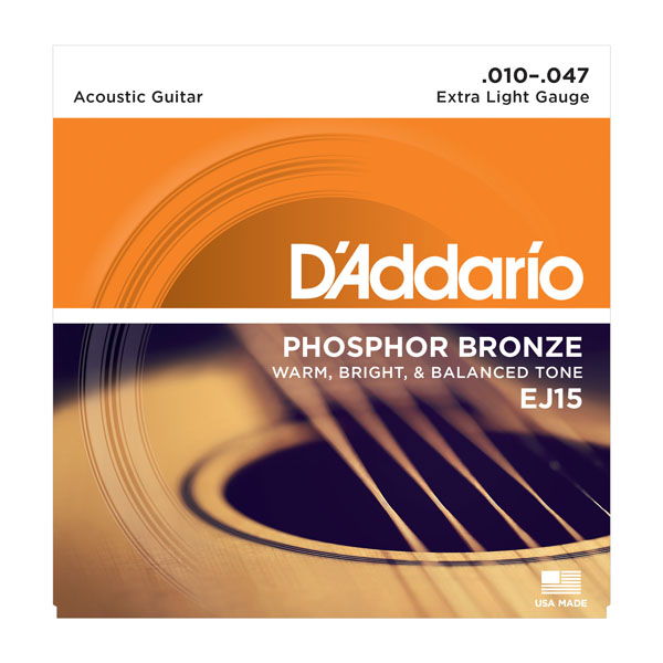 D'Addario EJ15 Phosphor Bronze Extra Light Acoustic Guitar Strings 10-47
