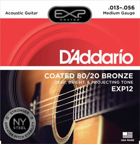 D'Addario EXP12 Coated 80/20 Light Acoustic Guitar Strings  13-56