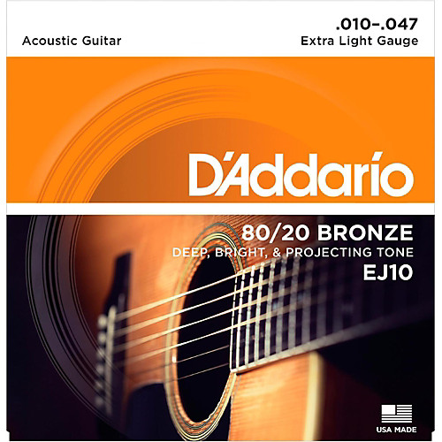 D'Addario EJ10 80/20 Bronze Extra Light Acoustic Guitar Strings 10-47