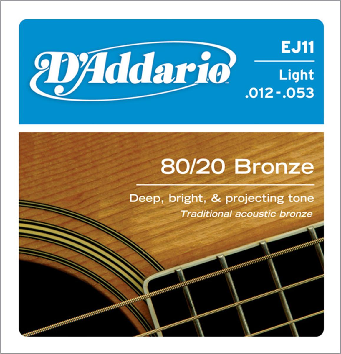 D'Addario EJ11 80/20 Bronze Light Acoustic Guitar Strings 12-53