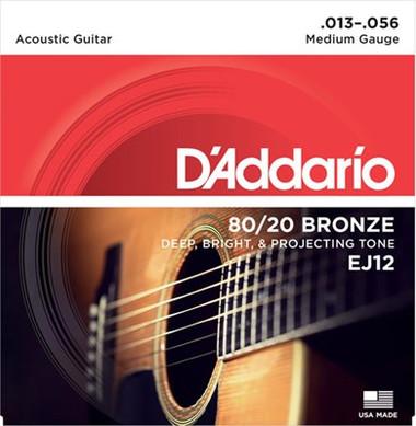 D'Addario EJ12 80/20 Bronze Medium Acoustic Guitar Strings 13-56