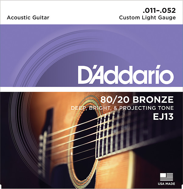 D'Addario EJ13 80/20 Bronze Custom Light Acoustic Guitar Strings 11-52