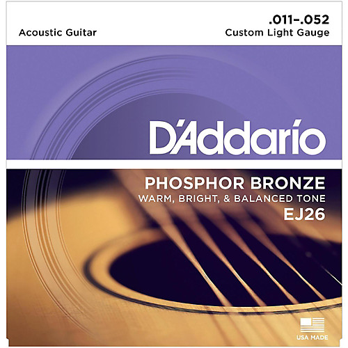 D'Addario EJ26 Phosphor Bronze Light Acoustic Guitar Strings 11-52