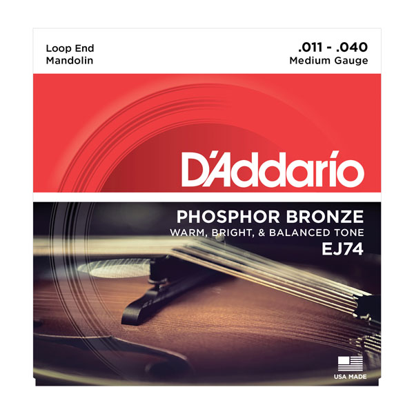 D'Addario EJ74 Phosphor Bronze Mandolin Strings, Medium 11-40
