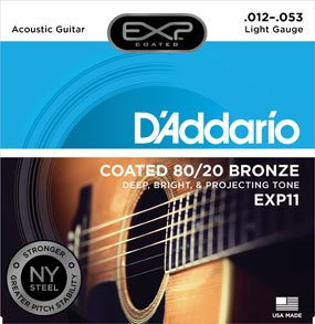 D'Addario EXP11 Coated 80/20 Light Acoustic Guitar Strings  12-53
