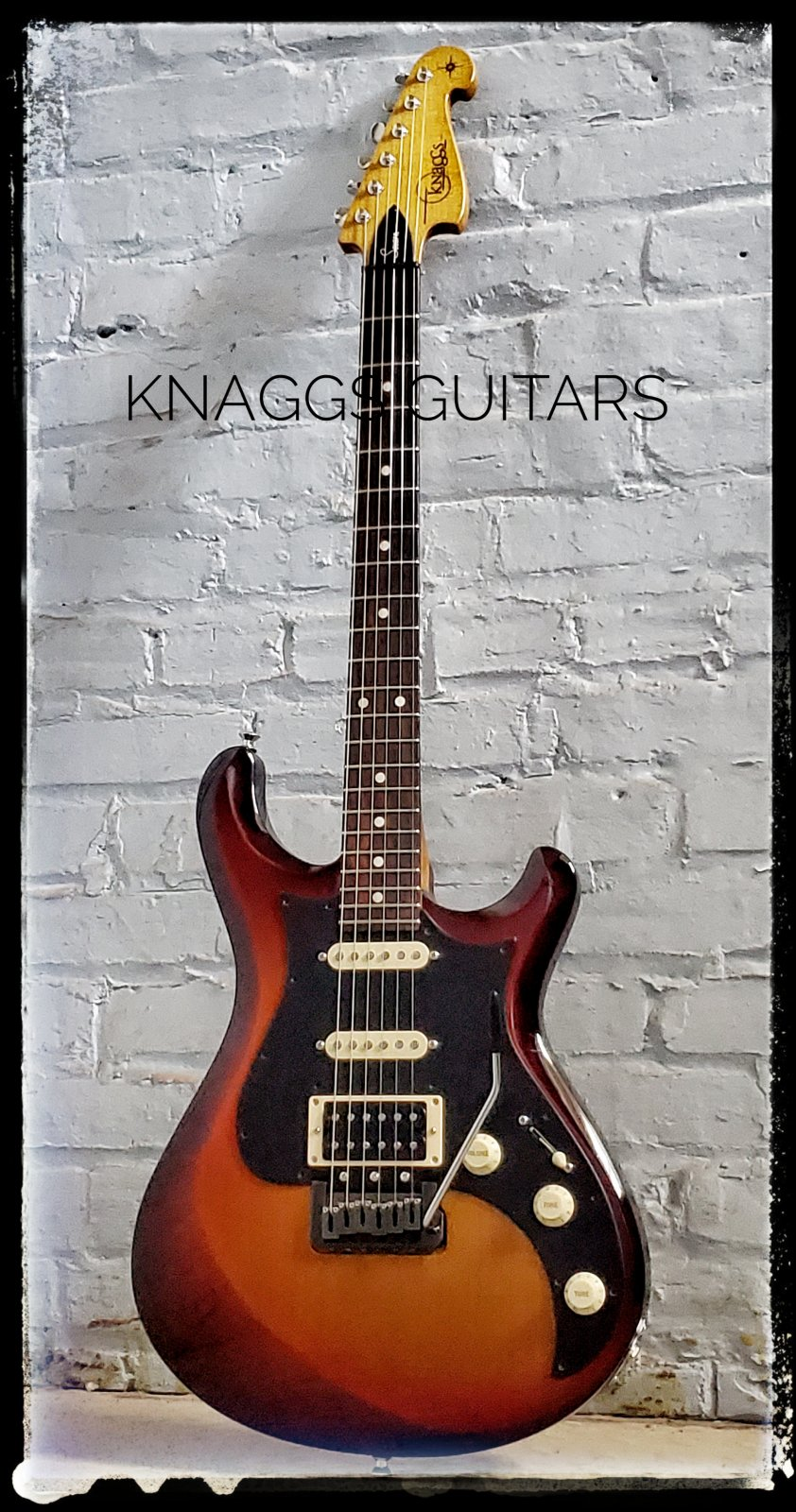 Knaggs Chesapeake Severn Trem HSS Triburst: Gloss: EIRW FB with Dots, Nickel Hard Ware w/case