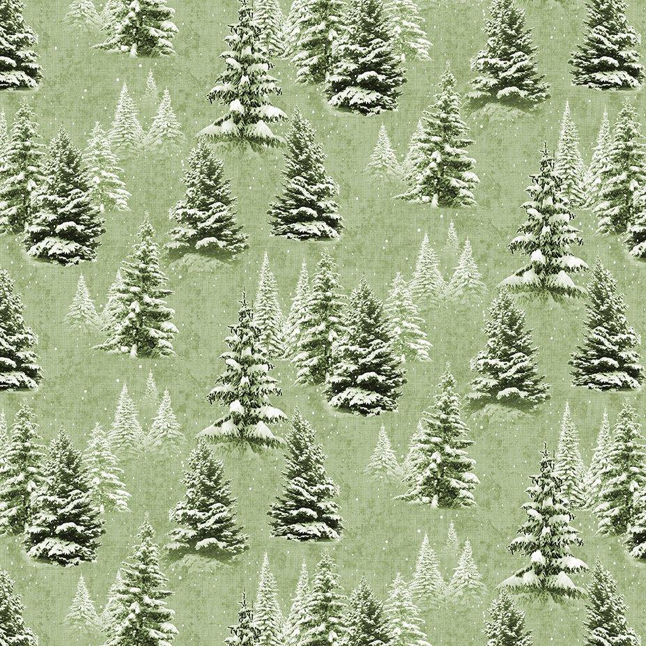 Quilt Minnesota 2021 Digital Snow Trees Light Olive Y3315-23