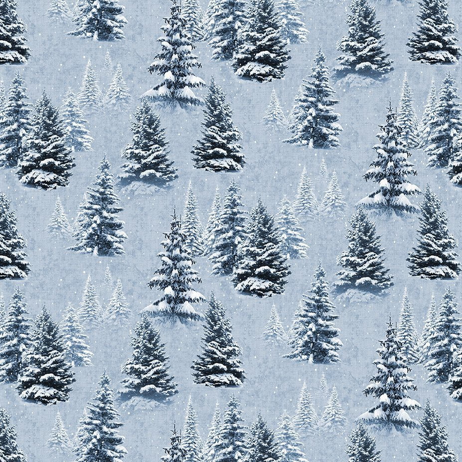 Quilt Minnesota 2021 Digital Snow Trees Light Denim Y3315-87