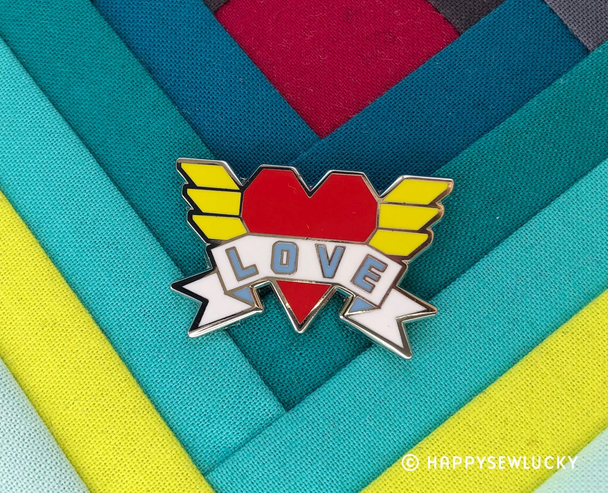 LOVE Enamel Pin by Happy Sew Lucky