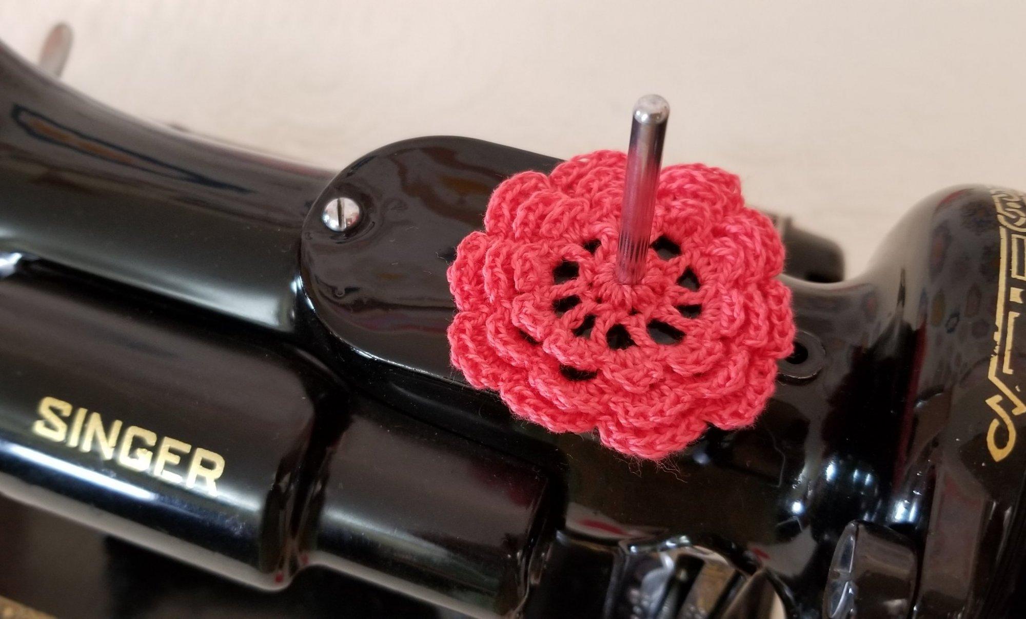Spool Pin Doily- Salmon Pink