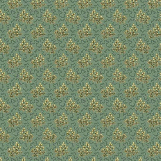 Skinny Bolt Sale- 2.75m of Crystal Farm Teal Elderberry by Laundry Basket Quilts